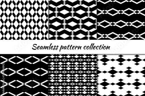 Photo sur Toile Style Boho Seamless pattern collection. Geometrical design backgrounds set. Repeated rhombuses, diamonds, lozenges motif. Geo print