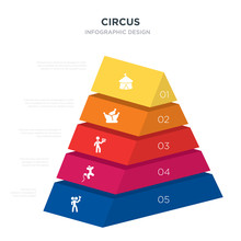 Circus Concept 3d Pyramid Chart Infographics Design Included Two Headed Man, Balloon Dog, Cards, Circus, Circus Tent, _icon6_, _icon7_, _icon8_ Icons