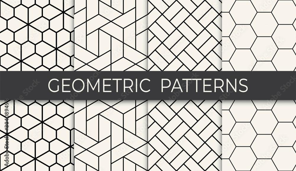 Fototapeta black and white geometric grid pattern set