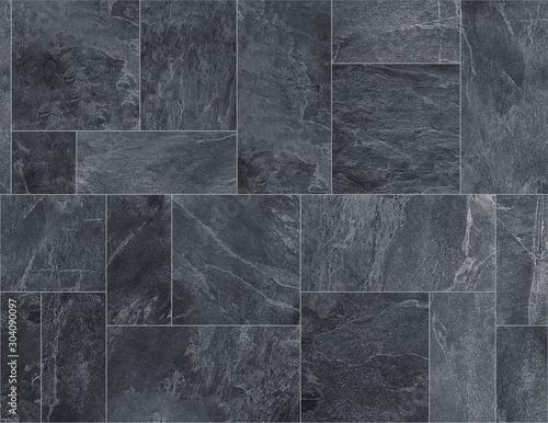 Black slate ceramic tile, seamless texture map for 3d graphics