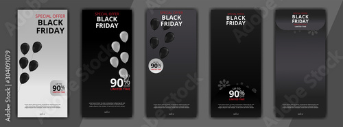 black friday editable social media post discount sale templates bundle set for digital marketing Canvas-taulu