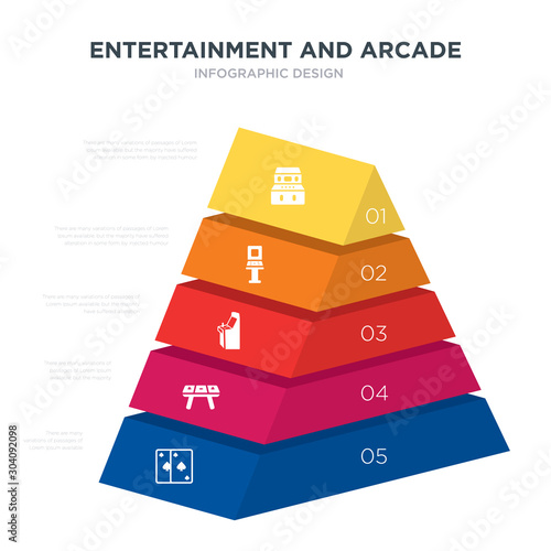 Fotografía  entertainment and arcade concept 3d pyramid chart infographics design included a