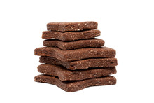 Delicious Homemade Chocolate And Sugar Cookies In The Shape Of Stars Of Different Sizes, Piled Up On Top Of Each Other, Isolated On A White Background. Christmas Baking For The Whole Family