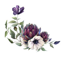 Picturesque Floral Arrangement Of The Anemones, Artichokes And Clematis Branches With Flowers Hand Drawn In Watercolor Isolated On A White Background. Floral Watercolor Illustration.