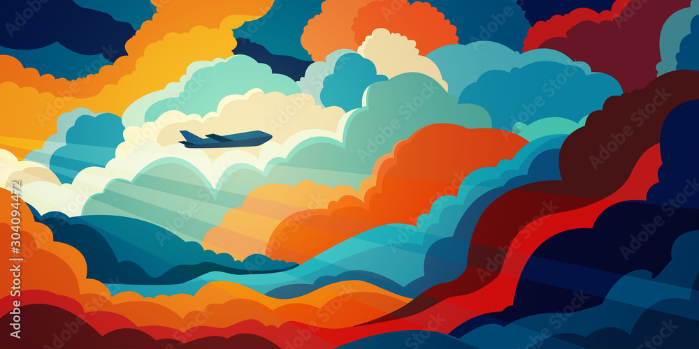 Fototapety, obrazy: Airplane flying above beautiful clouds in sunset or sunrise light. Travel concept. Colorful vector illustration