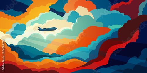 Obraz Airplane flying above beautiful clouds in sunset or sunrise light. Travel concept. Colorful vector illustration	 - fototapety do salonu