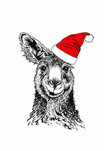 Graphical Kangaroo In Santa Claus Hat Isolated On White Background,vector New Year Illustration