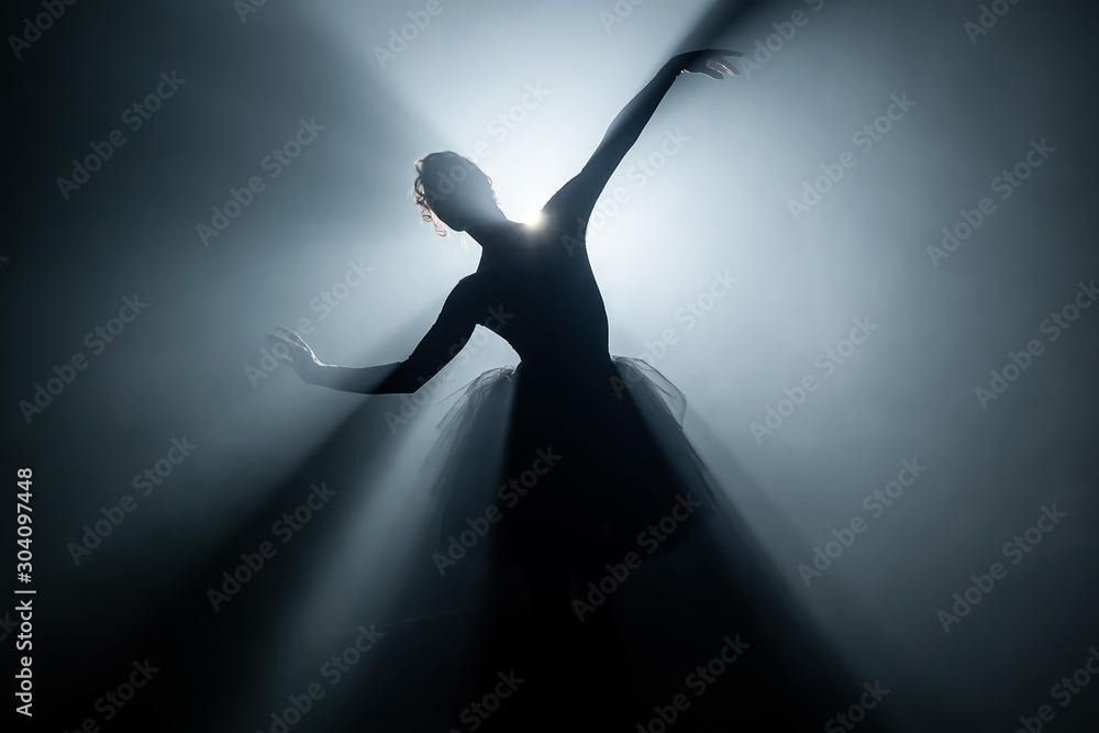 Fototapeta Solo performance by ballerina in tutu dress against backdrop of luminous neon spotlight in theater. Silhouette of woman in pointe shoes dancing classical movements.