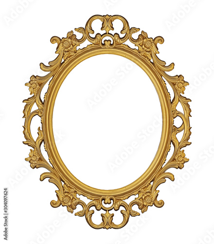 Golden frame for paintings, mirrors or photo isolated on white background