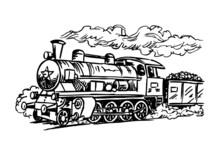 Retro Steam Locomotive, Historical Train, Black And White Clipart
