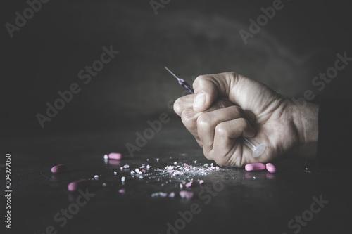 Stampa su Tela  Stop drug addiction concept