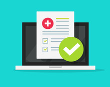 Medical Form Check List With Results Data And Approved Check Mark Online On Laptop Screen Vector Icon, Flat Cartoon Computer And Clinical Checklist Document Report And Checkbox, Tele Medicine Service