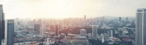 Poster Gris Aerial view panorama Singapore city downtown skyline building tower