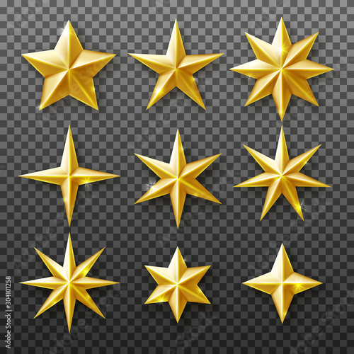 Obraz Gold star set isolated on transparent background. Vector realistic decoration - fototapety do salonu