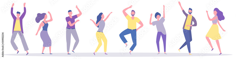 Fototapeta Group of young happy dancers or men and women isolated on a white background. Smiling young men and women enjoy a dance party. Colorful vector illustration in flat cartoon style.