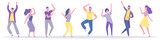 Group of young happy dancers or men and women isolated on a white background. Smiling young men and women enjoy a dance party. Flat style. Vector illustration