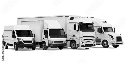 Obraz Fleet of Freight Transportation Isolated - fototapety do salonu