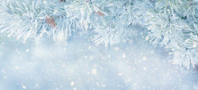 Wide Angle Winter Christmas Background With Snow