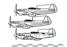 Yakovlev Yak-9. Outline Vector Drawing