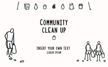 Community Clean Up Flyer With Stick Figures Trash Collecting. Concept Of Sacve The Planet. Icon Motif For Environmental Earth Day Volunteer Invitation, Eco Beach Cleaning & Recycling. Vector Eps 10