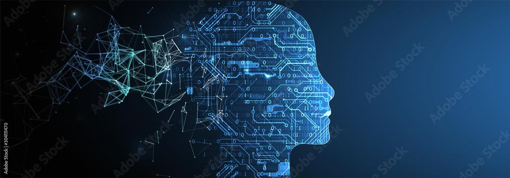 Fototapeta Artificial Intelligence concept.  Creative brain concept background. Vector science illustration.