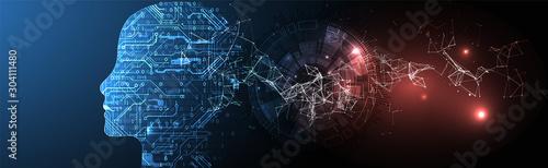 Obraz Artificial Intelligence concept.  Creative brain concept background. Vector science illustration. - fototapety do salonu