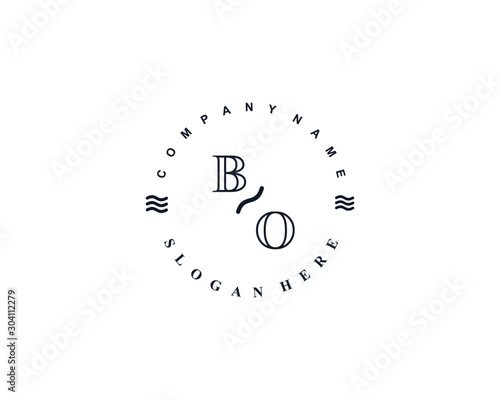 Initial BO vintage logo template Canvas Print