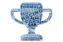 Auto Racing Cup Shape Word Cloud
