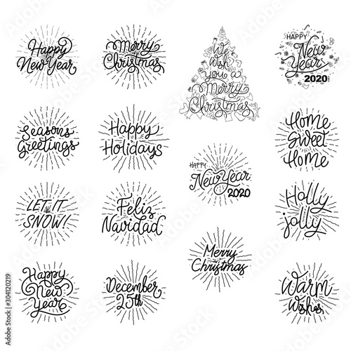 Festive Holiday Hand Lettered Text - Happy New Year and Christmas Typography Des Canvas-taulu