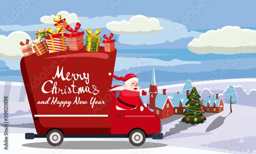 Fotomural  Merry Chrismas Santa Claus Van delivering gifts background winter town village