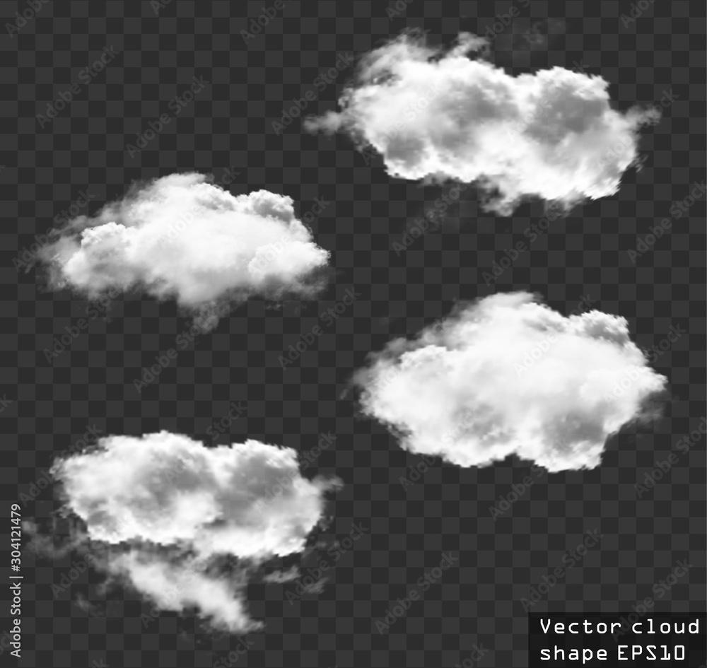 Fototapeta Clouds vector set, cloud shapes illustration
