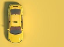 Yellow Taxi Car On A Yellow Background With Free Space For Text Or Logo. Top View. 3D Rendering.