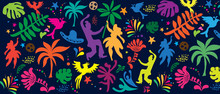 Brazilian Carnival 2020 Samba Festival Abstract Summer Holiday Beach Party Festival Carnival Banner With Birds, Palm Tree Leaves, Dancer Women People Flowers Tropical Icon Pattern Fiesta Vector