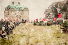 Watercolor Painting Of Riders In Red Uniforms Jumping Log Fences On Horses While Simulating A Fox Hunt With Applauding Spectators. Equestrian Sport In A Public Park In Front Of An Old Castle.