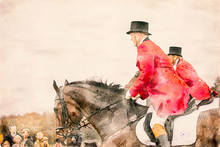 Watercolor Painting Of Two Horse Riders In Red Uniforms And Top Hats During A Fox Hunt. Equestrian Riding Sport In A Public Park.