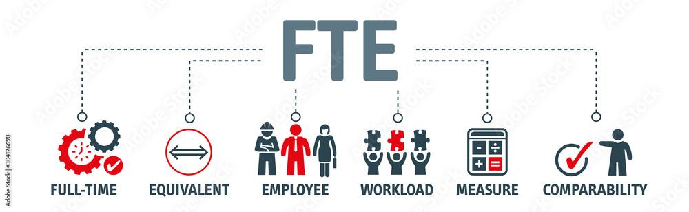 Fototapeta Banner Full time equivalent - FTE - vector illustration