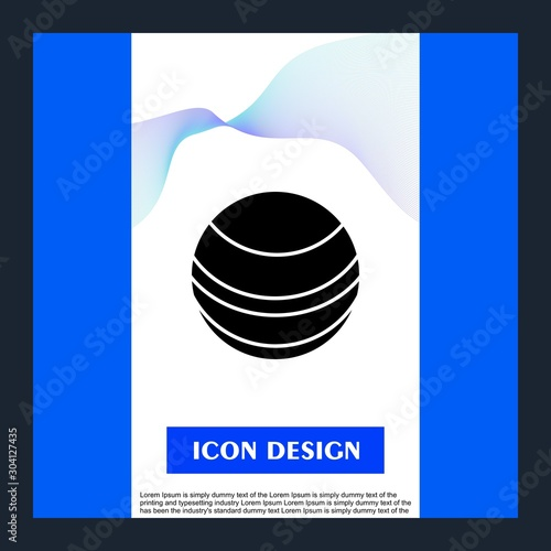 Neptune Icon Isolated On Abstract Background Canvas Print