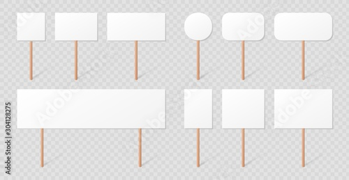 Blank demonstration banners collection isolated on transparent background Fototapete