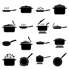 Frying Pan And Pan Set Icon, L...