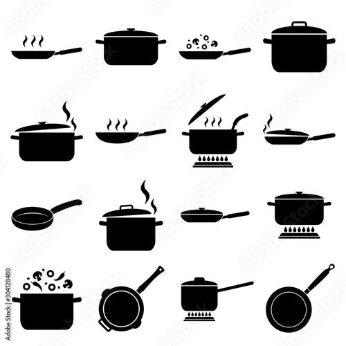 Fototapeta Frying pan and pan set icon, logo isolated on white background
