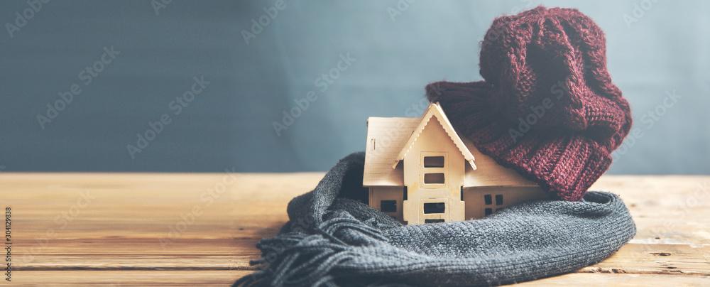 Fototapeta house model with hot  on the desk