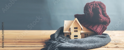 house model with hot  on the desk Fototapeta