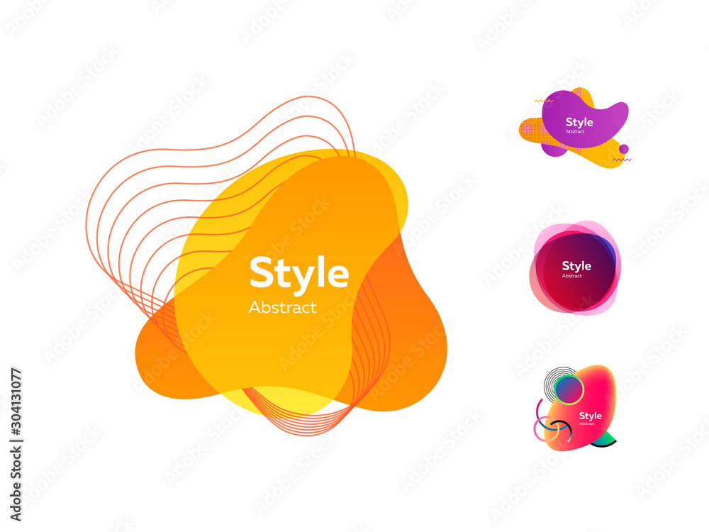 Fototapeta Multicolored dynamic shapes for banners set
