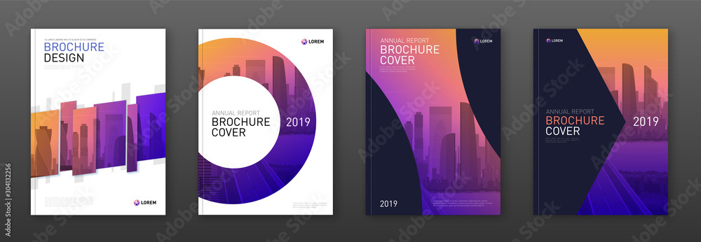 Fototapeta Brochure cover design layout set for business and construction. Abstract geometry whith colored cityscape vector illustration on background. Good for annual report, industrial catalog design.