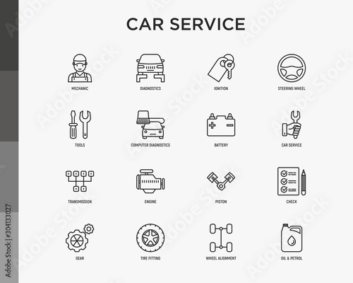 Photo Car service thin line icons set: mechanic, computer diagnostics, ignition, steering wheel , battery, transmission, engine, piston, oil petrol, tire fitting