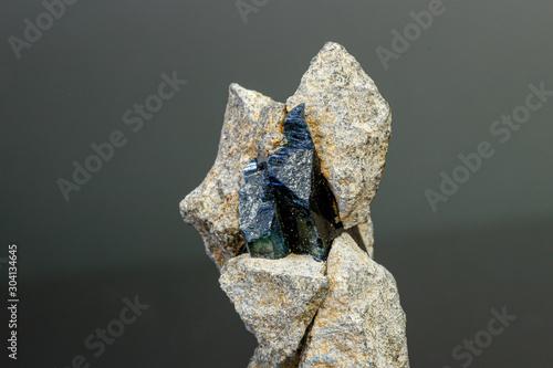 Valokuvatapetti macro mineral stone Vivianite on a black background