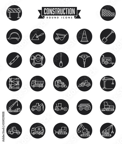 Construction industry round icon set Slika na platnu