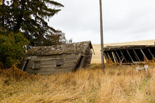 Old Abandoned Farm Shack Leaning Over