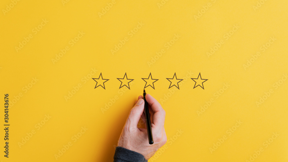 Fototapety, obrazy: Male hand drawing five stars in a row