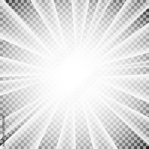 Light sun rays isolated on transparent background. Vector white star burst effect. Flash explosion radial beams backdrop. Wall mural